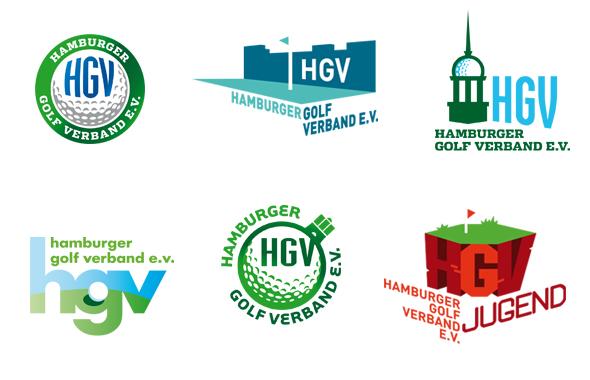 Auswahl an Entwürfen fürs Logo Design des Hamburger Golf Verbands