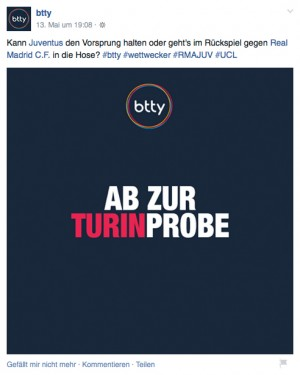 Social Media Texte für btty: Turinprobe