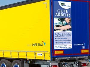 Fahrzeuggestaltung inkl. Stellenanzeige für Spedition in Hamburg