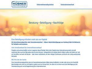 Der Webauftritt für Hübner Industriebeteiligung inklusive Suchmaschinenoptimierung